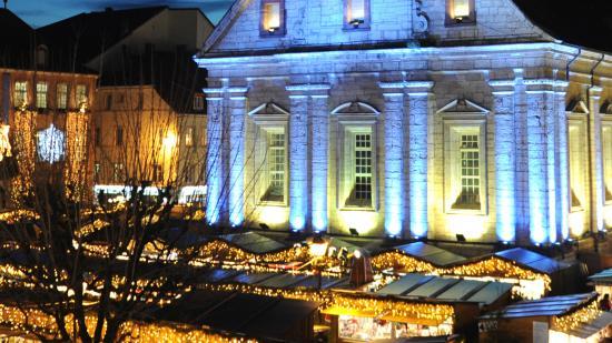 Lumières de Noël à Montbéliard, le temple - Crédit photo : Denis Bretey – Ville de Montbéliard