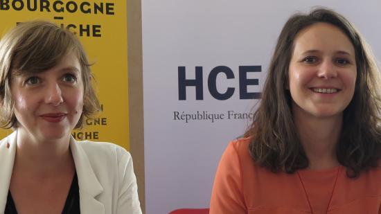 Laetitia Martinez, vice-présidente de la Région Bourgogne-Franche-Comté en charge de l'égalité, et Claire Guiraud, secrétaire générale du Haut Conseil à l'égalité entre les femmes et les hommes (HCE) - Photo DR