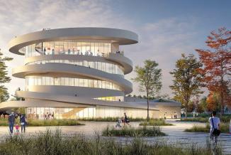 La forme du futur bâtiment est inspirée de la vrille de la vigne - Photo Région Bourgogne-Franche-Comté