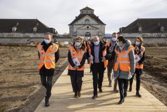 Visite du chantier « Un cercle immense », Saline royale d'Arc-et-Senans (25) le 17 février 2021 – Photos © David Cesbron / Région Bourgogne-Franche-Comté