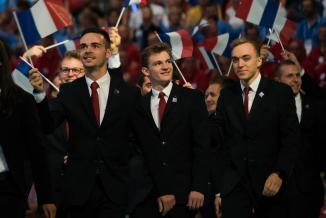 Adrien Mary (au centre) a également participé aux Mondiaux de Kazan, en Russie, en 2019 - Photo Région Bourgogne-Franche-Comté